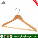 A Grade Wholesale Top Wooden Clothes Hanger for Man Garment Furniture Hanger with Bar (GLWH003)